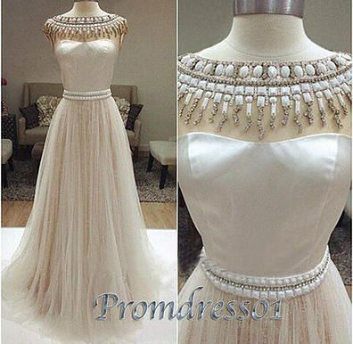 Vintage prom dresses long, beaded chiffon evening dress for teens, 2016 custom made tulle junior prom dress www.promdress01.c... #coniefox #2016prom