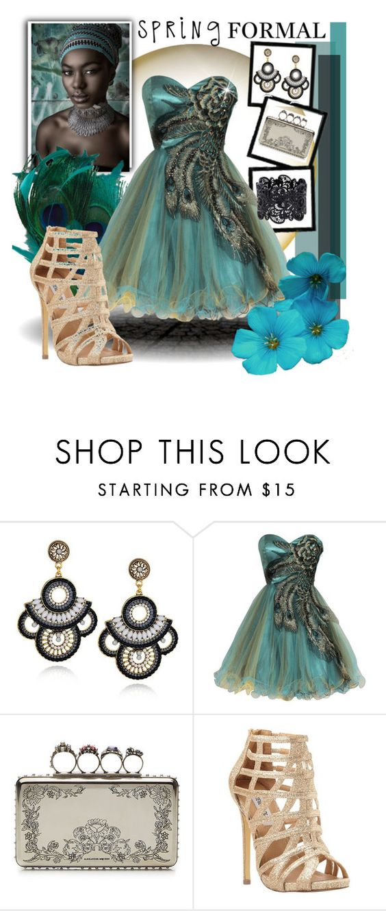 """""""Spring Formal - Peacock Inspiration"""" by dance-of-joy ❤ liked on Polyvore featuring PacificPlex, Alexander McQueen, Steve Madden, gold, black, Blue, peacock and GreenDress"""