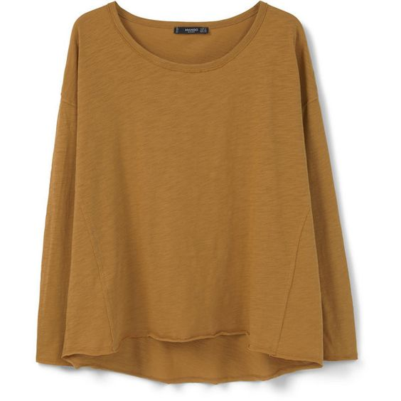 Essential Cotton T-Shirt ($14) ❤ liked on Polyvore featuring tops, t-shirts, long sleeve tee, brown tee, brown long sleeve tee, mango tops and round top
