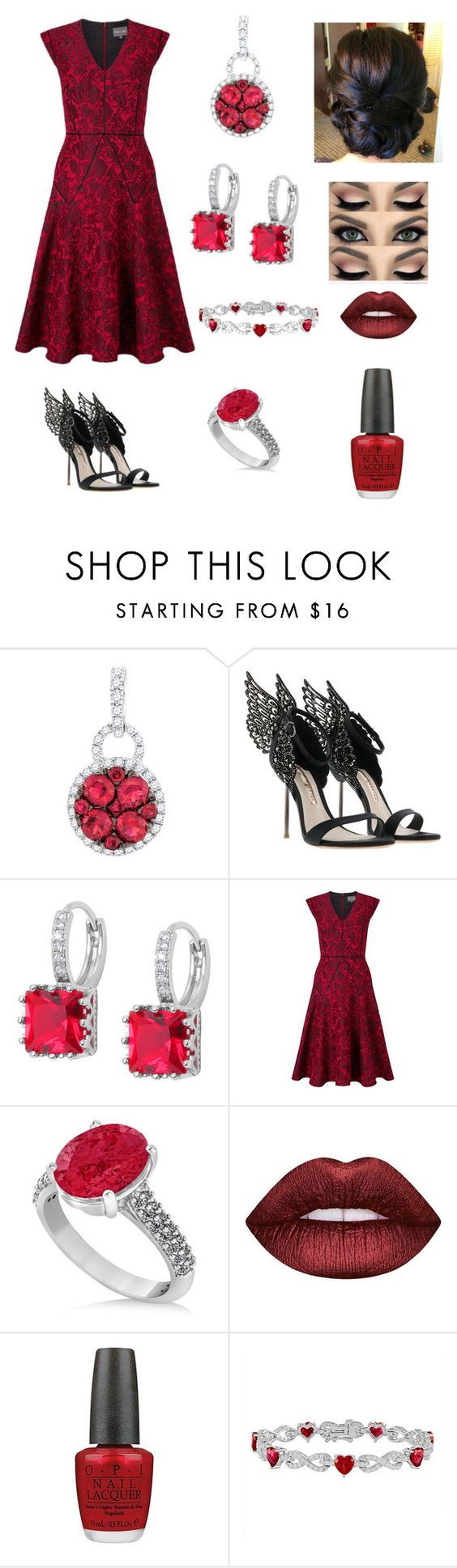 """""""Valentine's Date"""" by roxana-e-rosetti on Polyvore featuring Sophia Webster, Allurez, Lime Crime and OPI"""