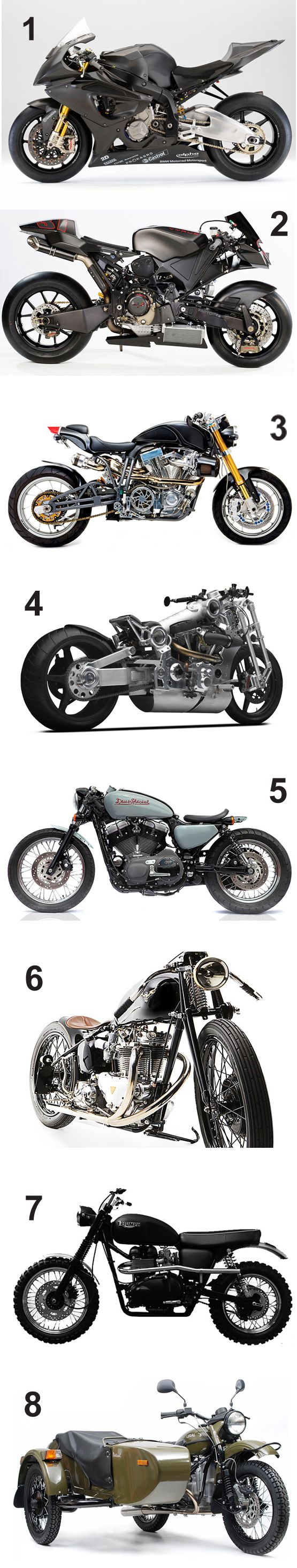 1 BMW S 1000 RR / 2 Vyrus 987 C3 4V / 3 Ecosse Heretic T1 / 4 Confederate P120 Fighter / 5 Deus Ex Machina Customs / 6 Falcon Motorcycles / 7 Hammarhead Motorcycles / 8 Ural Patrol T