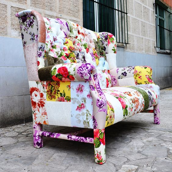 Reserved Listing For Kimberly Floral Wing Back Patchwork