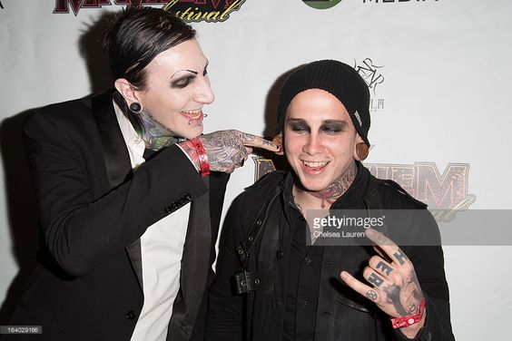 Vocalist Chris Cerulli (L) and pianist Joshua Balz of Motionless in White attend the 6th annual Rockstar energy drink Mayhem festival press conference at The Whiskey A Go Go on March 18, 2013 in West Hollywood, California.
