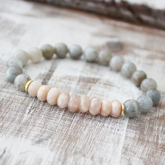 Sunstone Bracelet Labradorite Bracelet Healing Jewelry Intention Jewelry Yoga Bracelet Mala Beads