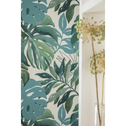 Papier Peint Vinyle Marque A Chaud Jungle Aquarelle Vert Papier