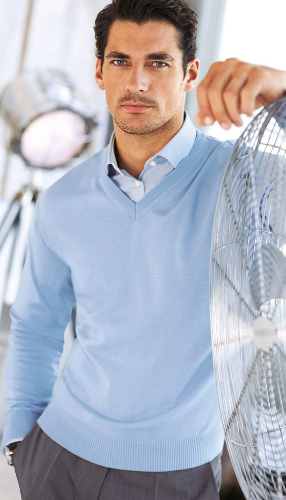 Love a dress shirt and sweater combo for a man during the for Sweater and dress shirt combo
