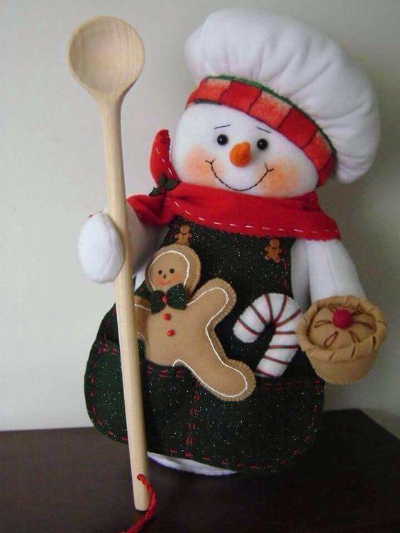 Aprende como hacer un muñeco de nieve cocinero - Costura y Patrones