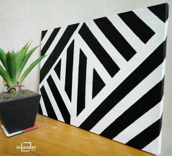 DIY stripe canvas (black&white) #canvas #canvases #crosscanvas #craft #kreatif #kerajinan #kerajinantangan #handmade #dekorasi #hiasan #diy #qlapa #inlandercanvas
