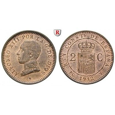 Spanien, Alfonso XIII., 2 Centimos 1899, f.st: Alfonso XIII. 1886-1931. Bronze-2 Centimos 1899 Madrid PC V. KM 732; fast… #coins