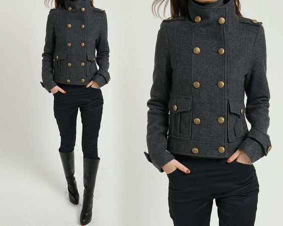 Winter coat wool coat cashmere coat gray coat grey coat double