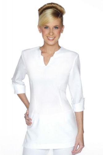 Spa 07 tunic beauty uniform uniformes pinterest for Spa uniform white