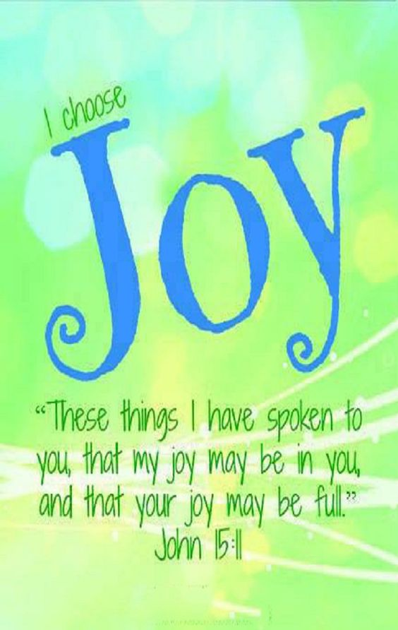John 15:11 (NASB) - These things I have spoken to you so that My joy may be in you, and that your joy may be made full.