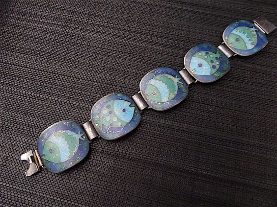 PERLI vintage EMAILLE enamel Armband silber silver BUNGE Schibensky ära FISCH