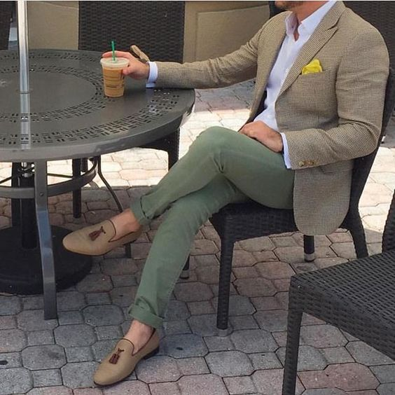 Subtle, earthy colours with a pop of colour in the pocket square