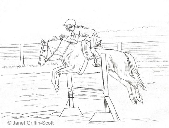 Draw A Horse Show Jumping In Colored Pencil