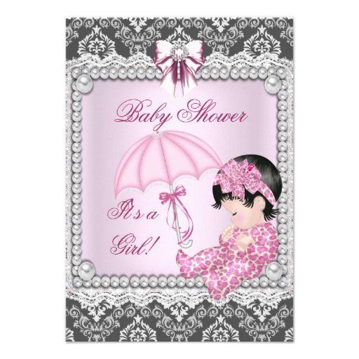 Pretty Pink Gray Girl Baby Shower Damask Custom Invitations