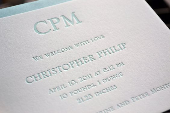 Letterpress Birth Announcement – Classic Baby Announcements