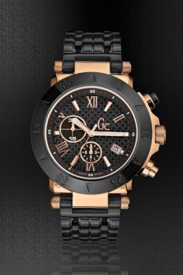 GC-1 BLACK/ROSE GOLD TIMEPIECE @ GUESS