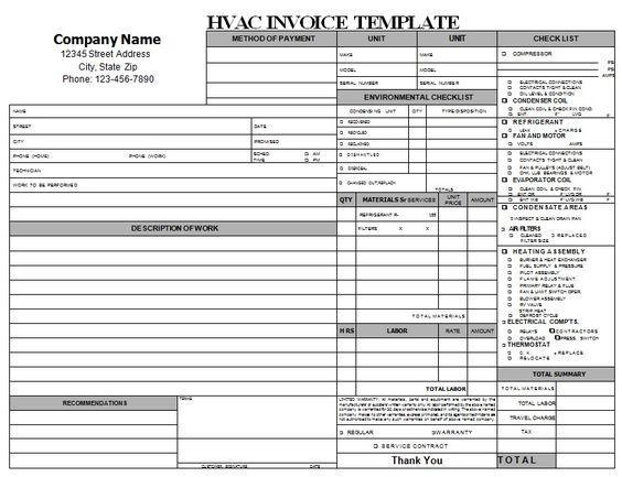 HVAC Invoice is a document that is mainly used by air conditioning - hvac invoice sample