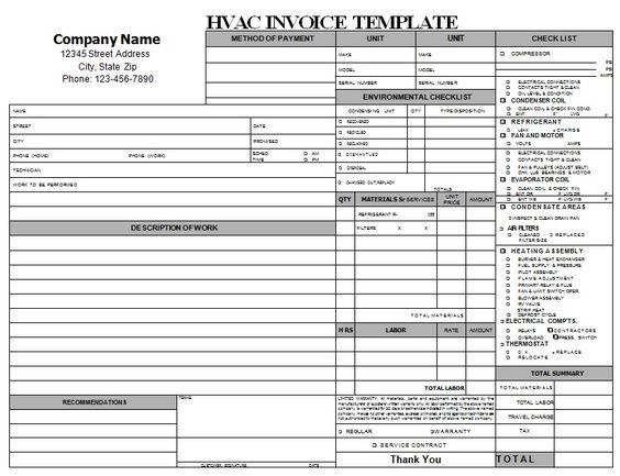 hvac service invoice template