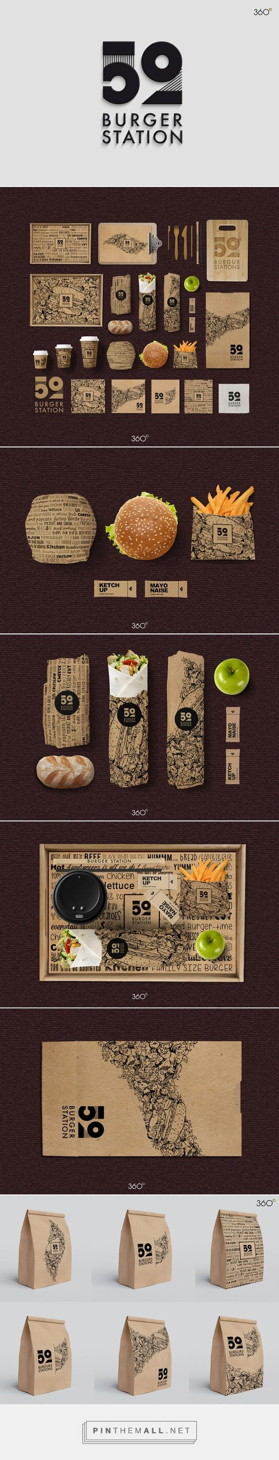 Burger Station on Behance by Fatma Zahra'a 360° Sfax صفاقس, Tunisia curated by Packaging Diva PD.  Tasty looking burger packaging.