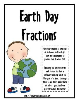 Earth Day fraction word problems using sunflower seeds- FREE from Lory Evans
