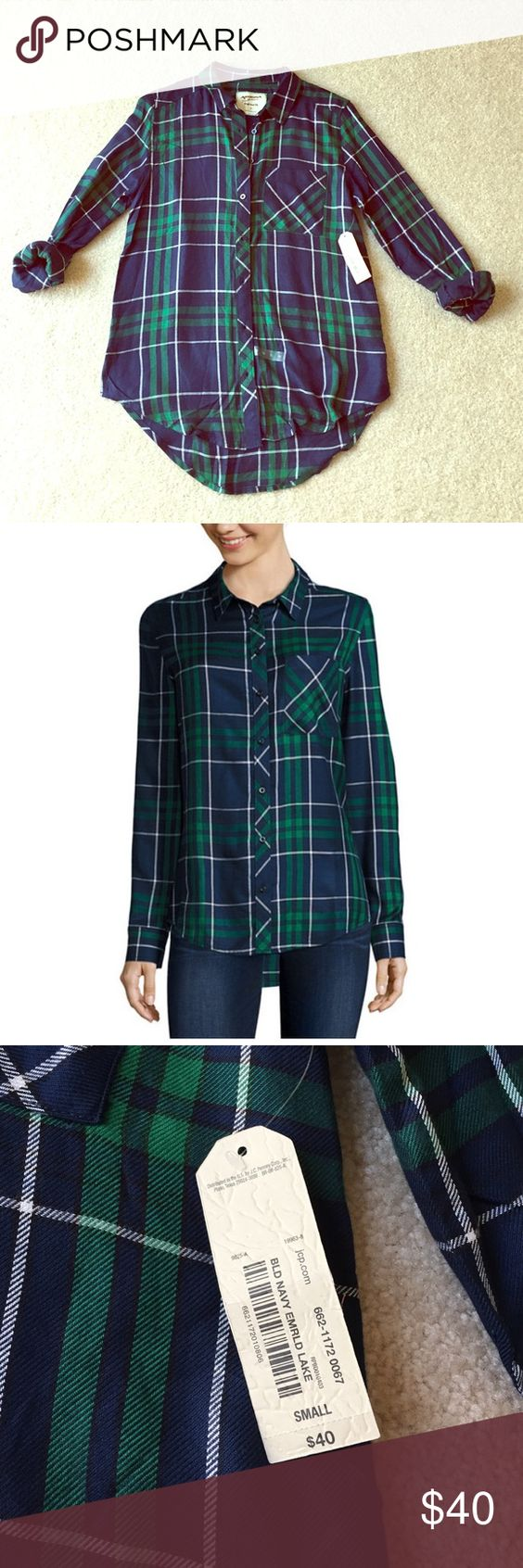 Arizona plaid shirt top S navy green white Brand new with tags. Very soft and comfy. Perfect for fall. Arizona Jean Company Tops