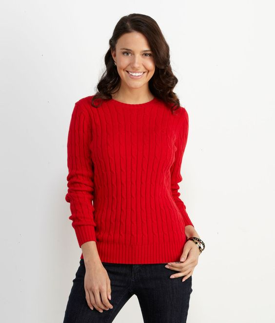 Cotton Coral Lane Sweater Red