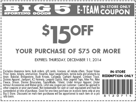 Pinned December 10th: $15 off $75 at Big 5 sporting goods #coupon via The #Coupons App