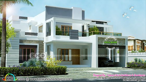 2650 Square Feet 4 Bedroom Modern Contemporary House Plan Kerala Home Design Kerala House Design House Architecture Design Modern Contemporary House Plans