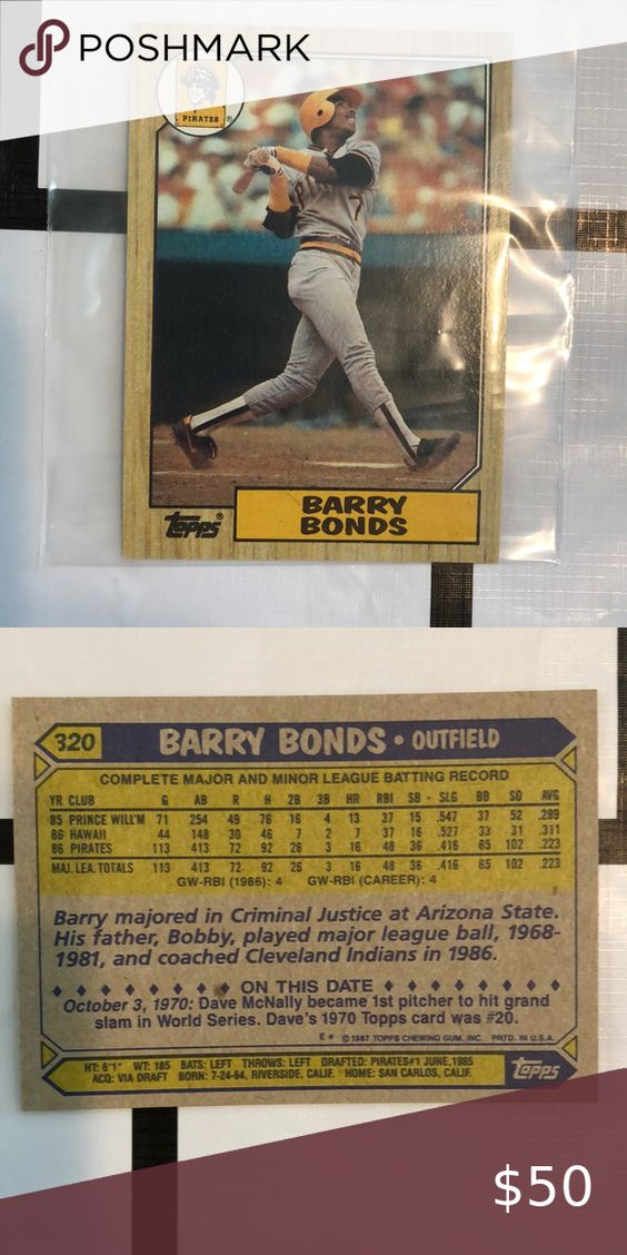 Barry Bonds Rookie Card In 2021 Barry Bonds Cards Bond