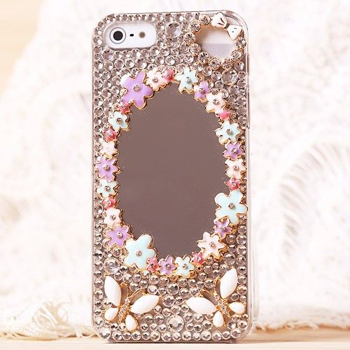 New Flowers Mirror Rhinestone Hand Made Hard Case for iPhone 5, Two Colors Available