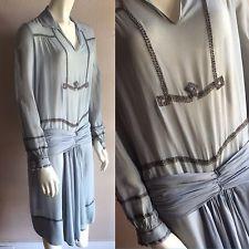 VTG 20s Pale Blue Silk Chiffon Medieval Drop Waist Metal Trim Flapper Dress S