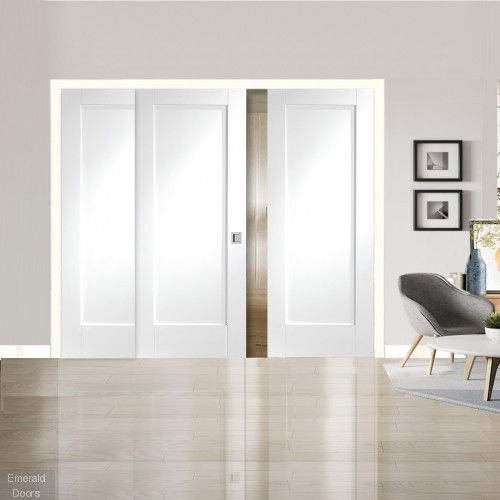 Pattern 10 White Primed 3 Door Sliding Door System The Pattern 10 Is A 3 Door System Featuring 2 Fixed Panels In 2020 Sliding Door Systems Sliding Doors Bifold Doors