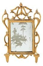 Charles III mirror with carved and gilded wooden frame,  third quarter of the 18th Century