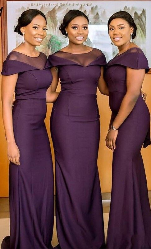 South African Dark Purple Bridesmaids Dresses Summer Boho ...