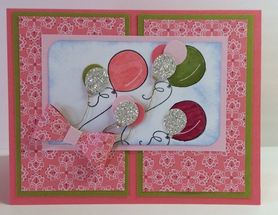 I made this card combining two challenges Global Design Project GDP023 and and Just Add Ink #299 for inspiration. GDP023 was a theme challenge .... balloons and JAI299 was using a photo of pink lemonade and watermelon wedges for inspiration. I thought the layout was from another challenge but I could not find that challenge when I searched. I used all Stampin' Up products (many of them retired). The DSP is Raspberry Tart, cardstock is Cameo Coral, the green layer is Kiwi Kiss and the light…