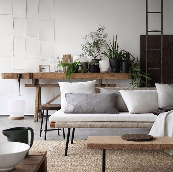 Earthy minimalist living room