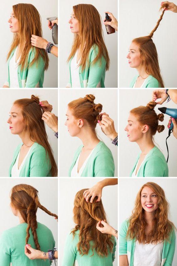 Enjoyable Bun Curls Twisted Bun And Curly Hair On Pinterest Short Hairstyles Gunalazisus