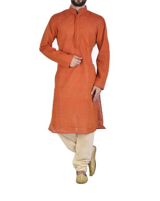 Marigold orange cotton kurta  |  Shop now: www.thesecretlabel.com