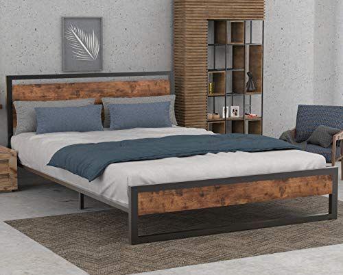 Sha Cerlin Full Bed Frame With Wood Headboard Metal Slats High Metal And Wood Platform Bed No Box Sp Full Bed Frame Bed Frame And Headboard Wood Platform Bed Full bed frame and headboard