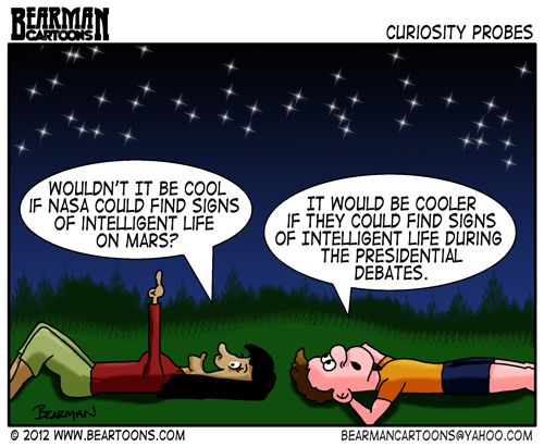 Editorial Cartoon Nasa Mars and Presidential Debates: