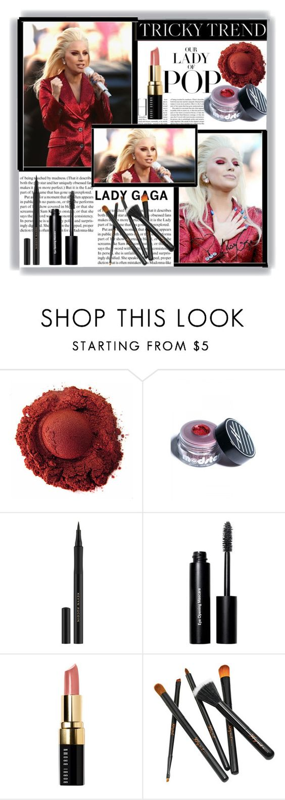 """""""Tricky Trend Lady GaGa"""" by pink1princess ❤ liked on Polyvore featuring beauté, Ardency Inn, Kevyn Aucoin et Bobbi Brown Cosmetics"""
