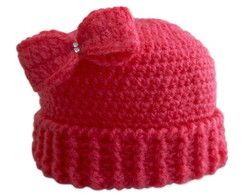 Touca de Crochê Lacinho Pink para Bebê