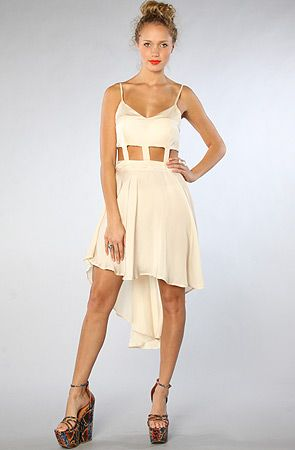 The Long Cut Out Dress in Cream by Reverse