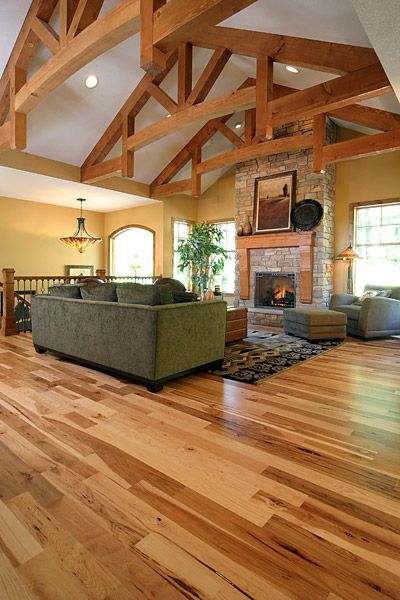 Hickory floors. In our dining and living area :) and up the stairs