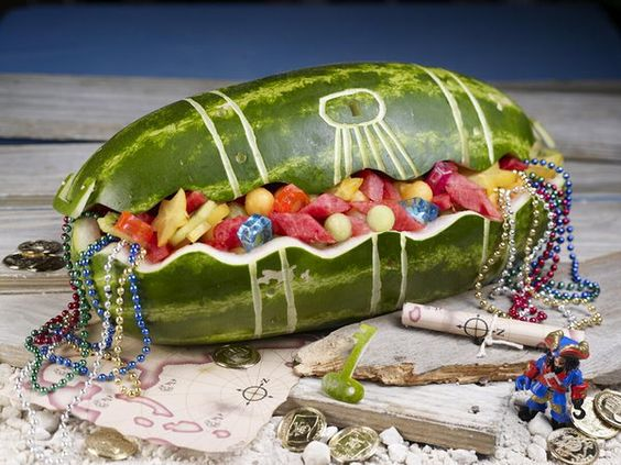 Watermelon Treasure Chest - 20 Jake and the Neverland Pirates Party Ideas @Ashley Pedersen: