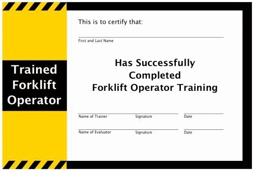 Equipment Operator Certification Card Template Lovely Operation And Maintenance Of Your Forklift Forklift Training Certificate Templates Forklift