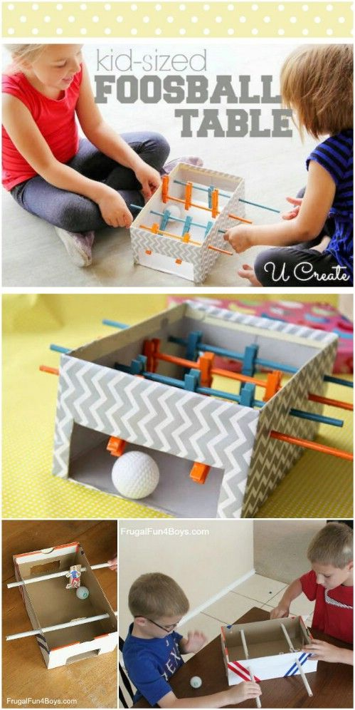 DIY Kids Mini Foosball Table from a Shoebox + More Ideas: