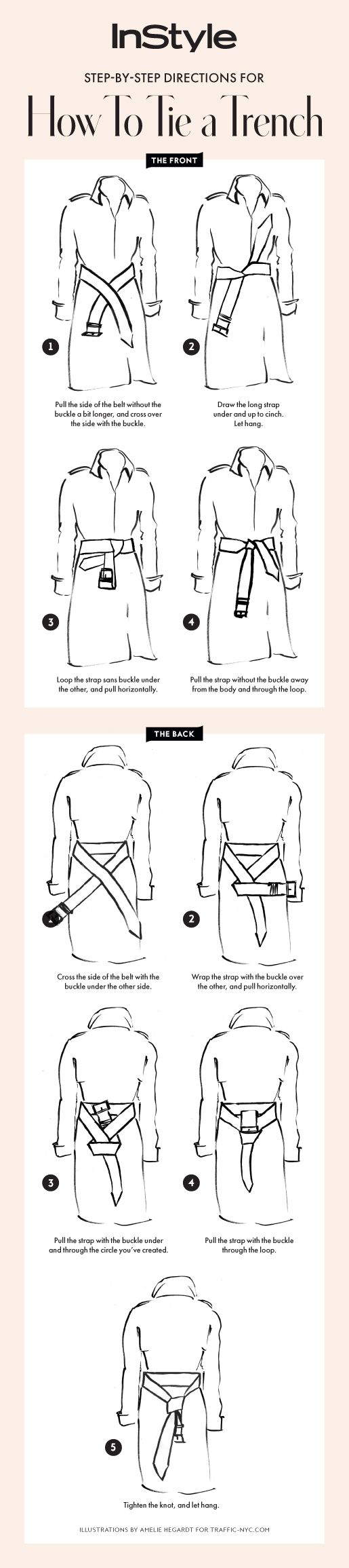 Follow our step-by-step guide for how to tie your trench coat two ways.: